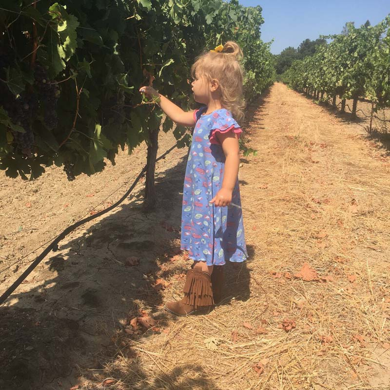 Baby girl loves visiting the vineyards with her mama.